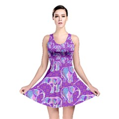 Cute Violet Elephants Pattern Reversible Skater Dress