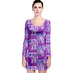 Cute Violet Elephants Pattern Long Sleeve Bodycon Dress