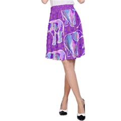 Cute Violet Elephants Pattern A-Line Skirt