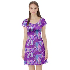 Cute Violet Elephants Pattern Short Sleeve Skater Dress