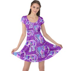Cute Violet Elephants Pattern Cap Sleeve Dress