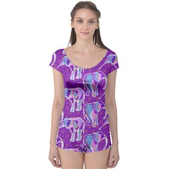 Cute Violet Elephants Pattern Boyleg Leotard