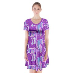 Cute Violet Elephants Pattern Short Sleeve V-neck Flare Dress