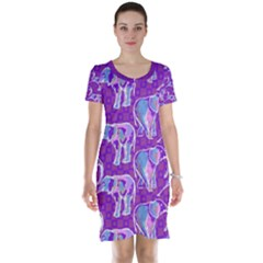 Cute Violet Elephants Pattern Short Sleeve Nightdress
