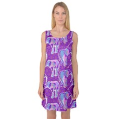 Cute Violet Elephants Pattern Sleeveless Satin Nightdress