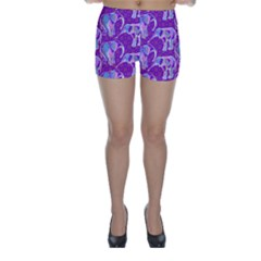 Cute Violet Elephants Pattern Skinny Shorts