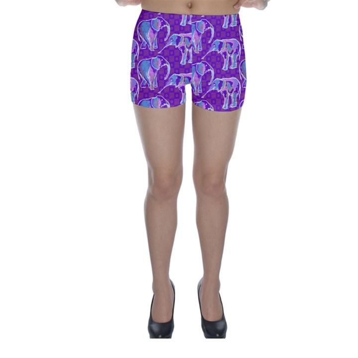 Cute Violet Elephants Pattern Skinny Shorts