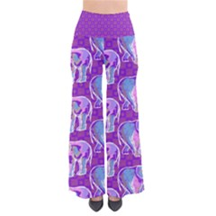 Cute Violet Elephants Pattern Women s Chic Palazzo Pants