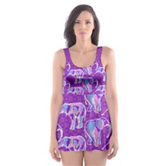 Cute Violet Elephants Pattern Skater Dress Swimsuit