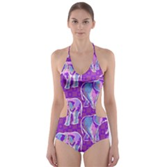 Cute Violet Elephants Pattern Cut Out One Piece Swimsuit