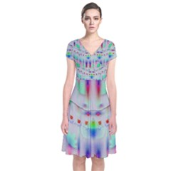 Rainbows In The Moonshine Short Sleeve Front Wrap Dress