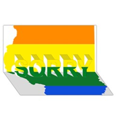 Lgbt Flag Map Of Illinois Sorry 3d Greeting Card (8x4)