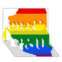Lgbt Flag Map of Illinois Miss You 3D Greeting Card (7x5)
