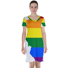 Lgbt Flag Map of Illinois Short Sleeve Nightdress