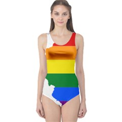 Lgbt Flag Map of Illinois One Piece Swimsuit