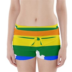 Lgbt Flag Map Of Illinois Boyleg Bikini Wrap Bottoms