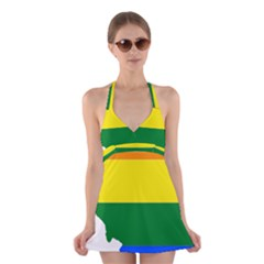 Lgbt Flag Map of Illinois Halter Swimsuit Dress