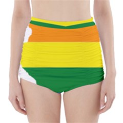Lgbt Flag Map of Illinois High-Waisted Bikini Bottoms