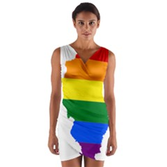 Lgbt Flag Map Of Illinois Wrap Front Bodycon Dress