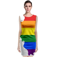 Lgbt Flag Map Of Illinois Classic Sleeveless Midi Dress