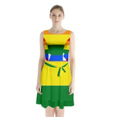 Lgbt Flag Map Of Illinois Sleeveless Chiffon Waist Tie Dress
