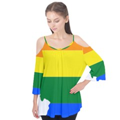 Lgbt Flag Map Of Illinois Flutter Tees