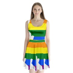 Lgbt Flag Map of Illinois Split Back Mini Dress