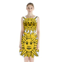 Uruguay Sun Of May Sleeveless Chiffon Waist Tie Dress