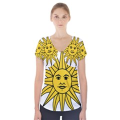 Uruguay Sun of May Short Sleeve Front Detail Top