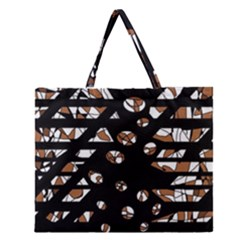 Brown freedom  Zipper Large Tote Bag
