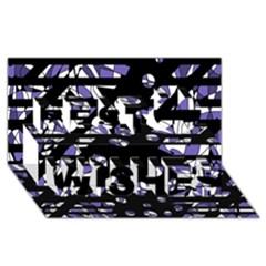 Purple freedom Best Wish 3D Greeting Card (8x4)