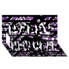 Violet freedom Happy New Year 3D Greeting Card (8x4)