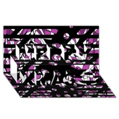 Magenta freedom Merry Xmas 3D Greeting Card (8x4)