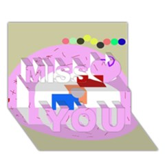 Decorative abstract circle Miss You 3D Greeting Card (7x5)