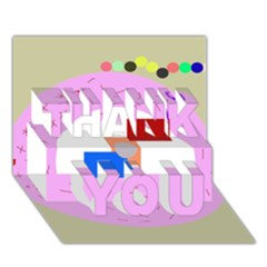 Decorative abstract circle THANK YOU 3D Greeting Card (7x5)