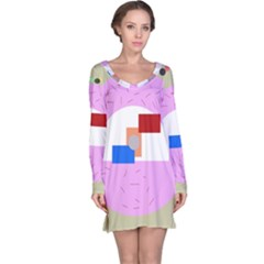 Decorative abstract circle Long Sleeve Nightdress