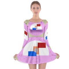 Decorative abstract circle Long Sleeve Skater Dress