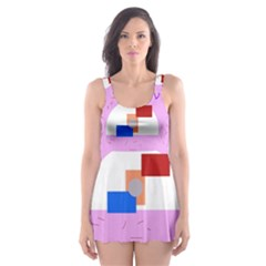 Decorative Abstract Circle Skater Dress Swimsuit