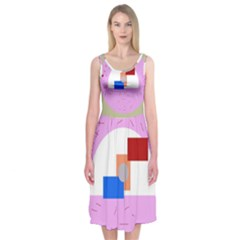 Decorative abstract circle Midi Sleeveless Dress