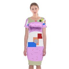 Decorative abstract circle Classic Short Sleeve Midi Dress