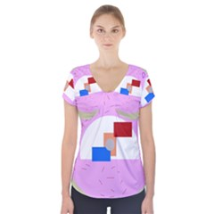 Decorative abstract circle Short Sleeve Front Detail Top