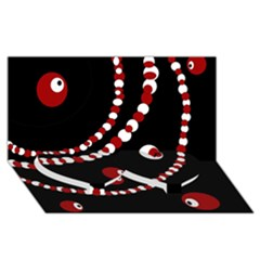 Red pearls Twin Heart Bottom 3D Greeting Card (8x4)