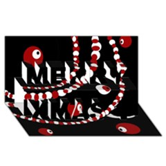 Red pearls Merry Xmas 3D Greeting Card (8x4)