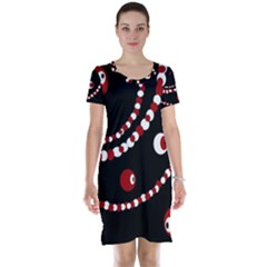 Red pearls Short Sleeve Nightdress