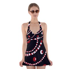 Red pearls Halter Swimsuit Dress