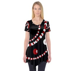 Red pearls Short Sleeve Tunic