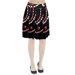 Red pearls Pleated Skirt