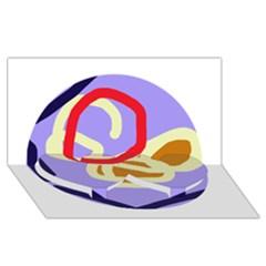 Abstract circle Twin Heart Bottom 3D Greeting Card (8x4)