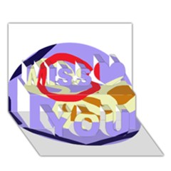 Abstract Circle Miss You 3d Greeting Card (7x5)