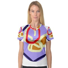 Abstract circle Women s V-Neck Sport Mesh Tee